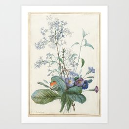 Vintage Botanical - A Bouquet of Flowers with Insects Art Print
