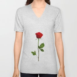 A RED LONG STEM ROSE BOTANICAL ART Unisex V-Neck