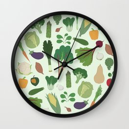 Make Friends With Vegetables Wall Clock