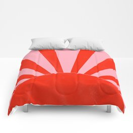 pink and red abstract sunrise Comforters