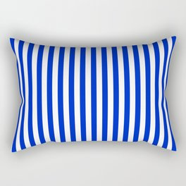 Cobalt Blue and White Vertical Deck Chair Stripe Rectangular Pillow