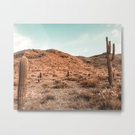 Saguaro Mountain // Vintage Desert Landscape Cactus Photography Teal Blue Sky Southwestern Style Metal Print