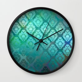 """Turquoise Ocean Damask Pattern"" Wall Clock"