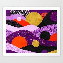 Terrazzo galaxy purple orange gold Art Print
