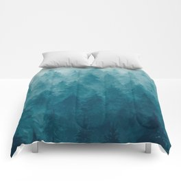 Misty Pine Forest Comforters