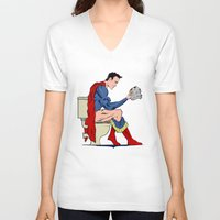 toilet V-neck T-shirts featuring Superhero On Toilet by WyattDesign