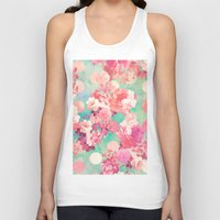 preppy Tank Tops featuring Romantic Pink Retro Floral Pattern Teal Polka Dots  by Girly Trend