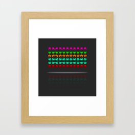 Pixel invaders : Incoming ! Framed Art Print