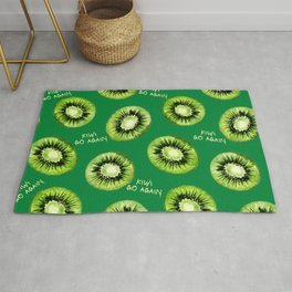 Kiwi Go Again Funny Kiwi Fruit Pun Pattern (green) Rug