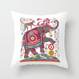 Raja's Garden 'The Royal Grey Elephant' Throw Pillow