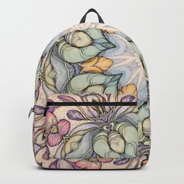 vintage flowers hand drawn and  kaleidoscope mandala Backpack