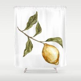 Lemon Decor, Lemon Decoration, Rustic Painting, Lemon Watercolor Shower Curtain