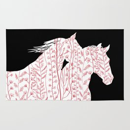 White horses on black Rug