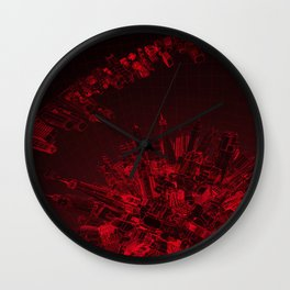 Future City Red Wall Clock