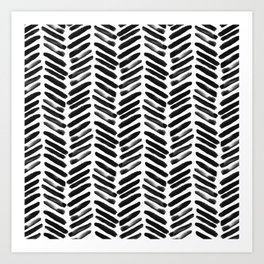 Simple black and white handrawn chevron - horizontal Art Print