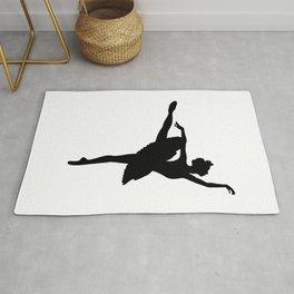 Ballerina silhouette (black) Rug