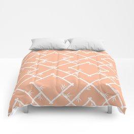 Bamboo Chinoiserie Lattice in Peach + White Comforters