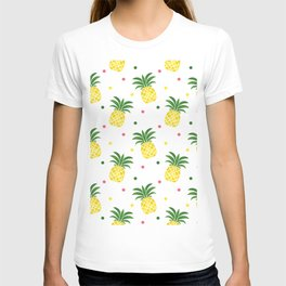 Tropical fruit sunshine yellow green pineapple polka dots T-shirt