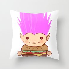 Hamburger Troll Throw Pillow