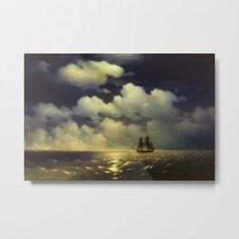 Ivan Aivazovsky -The brig Mercury encounter after defeating two Turkish ships of the Russian squadro Metal Print