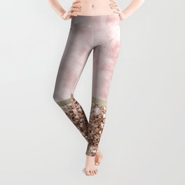 Warm chromatic - pink marble Leggings
