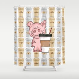Mr Pig Loves His Coffee Shower Curtain