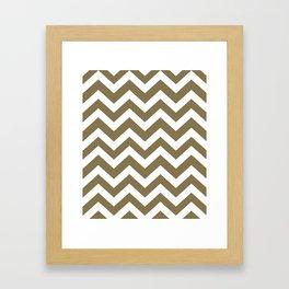 Gold Fusion - grey color - Zigzag Chevron Pattern Framed Art Print