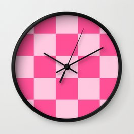 Magog - Pink Checkerboard Pixel Pattern Wall Clock