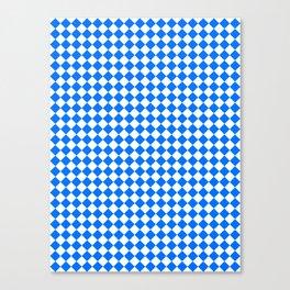 White and Brandeis Blue Diamonds Canvas Print