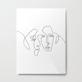 Two Faces - Abstract One Line Art Metal Print