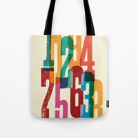 numbers Tote Bags featuring Numbers by Marco Campedelli