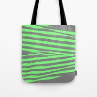 stripes Tote Bags featuring Green & Gray Stripes by 2sweet4words Designs