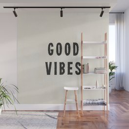 Distressed Ink Effect Good Vibes | Black on Off White Wall Mural