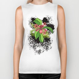Floral theme. Tropical orchids. Biker Tank
