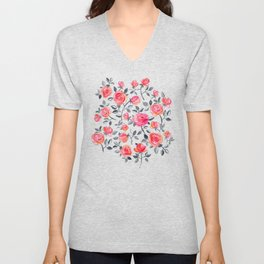 Roses on White - a watercolor floral pattern Unisex V-Neck