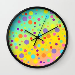 Gorgeous Rainbow Gradient with Colorful Polka Dots Wall Clock