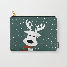Reindeer in a snowy day (green) Carry-All Pouch
