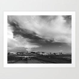 Airliner taxiing on a runway Art Print