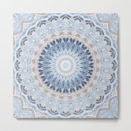 Serenity Mandala in Blue, Ivory and White on Textured Background Metal Print