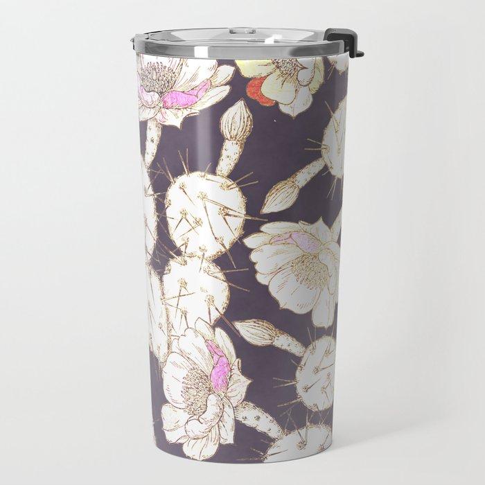 Modern white gold mauve lavender catus floral Travel Mug