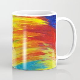 RAINBOW EXPLOSION - Vibrant Smile Happy Colorful Red Bright Blue Sunshine Yellow Abstract Painting  Coffee Mug