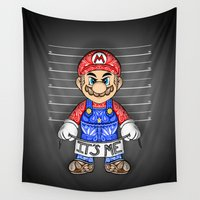 luigi Wall Tapestries featuring It's ME, Evil Mario !  by Art & Be