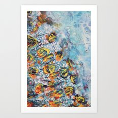 Orange in turquoise Art Print