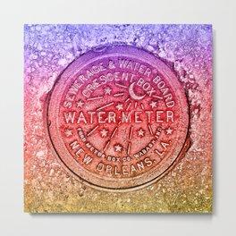New Orleans Water Meter Louisiana Crescent City NOLA Water Board Metalwork Rainbow Gay Pride Metal Print