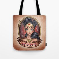 pinup Tote Bags featuring Amazon Pinup by Tim Shumate