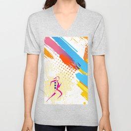 Pink Woman Runner Unisex V-Neck