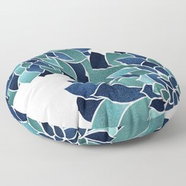 Festive, Floral Prints, Navy Blue and Teal on White Floor Pillow
