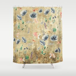 Fishes & Garden #Gold-plated Shower Curtain