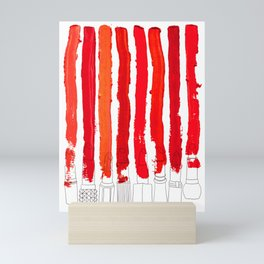 Lipstick Stripes - Red Shades Mini Art Print
