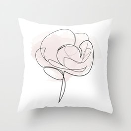 one line rose Throw Pillow